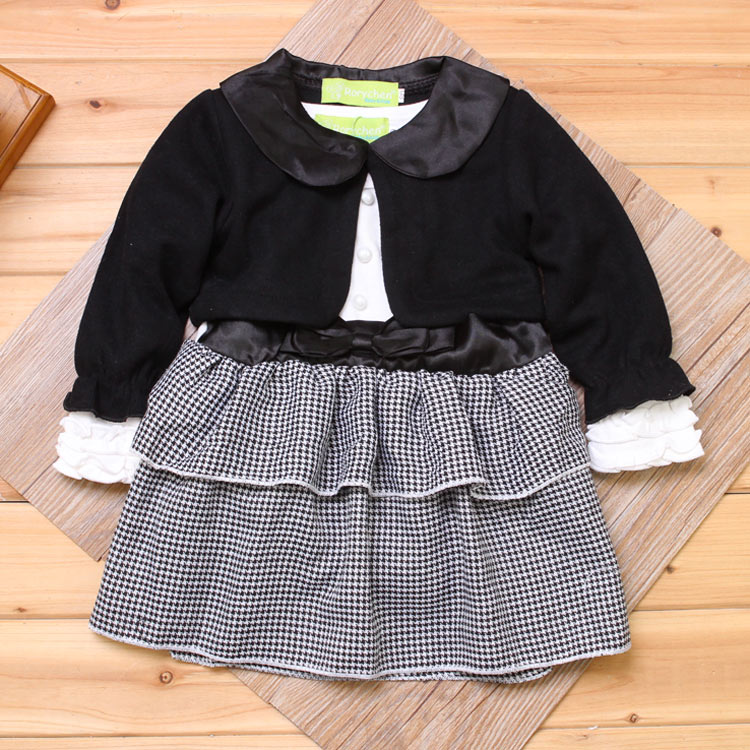 2015 New Fashion Baby Girls Preppy Suit Black Short Coat+ Long Sleeves Dress with Underpants Children Spring Autumn 2pcs Clothes(China (Mainland))