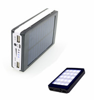 10000mAh Dual USB Solar Power Bank Portable External Mobile Battery Charger Backup Powerbank with LED Lights for Camping