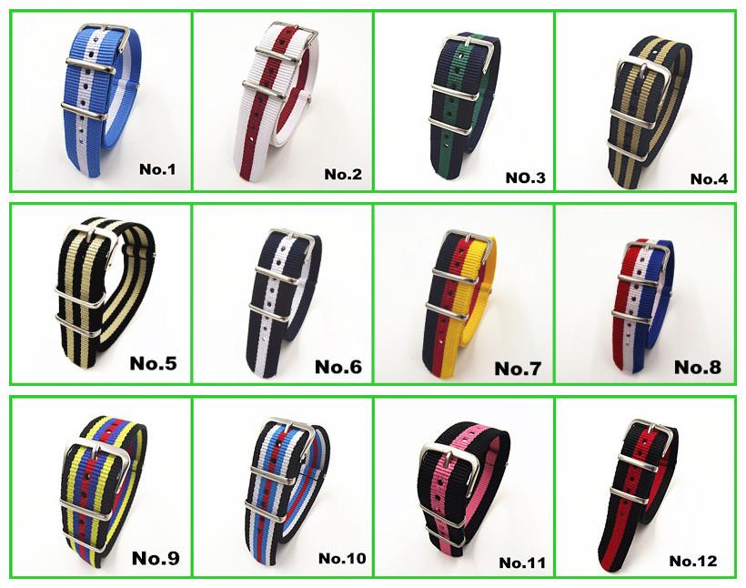 Hot Wholesale 10pcs lot High quality 20MM Nylon Watch band NATO waterproof watch strap fashion wach