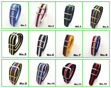 Hot !  Wholesale 10pcs/lot High quality 20MM Nylon Watch band NATO waterproof watch strap fashion wach band -44 color available