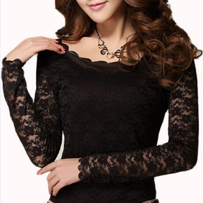 Fashion Lace Women T Shirt Long Sleeve T Shirt Women Casual Tees Shirts Sexy Crochet Women Tops Plus Size TShirt Camiseta(China (Mainland))