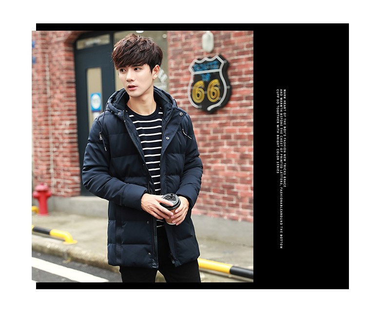Fashion Business Long Parka Men 2016 Winter Casual Slim Fit Parks Male Long Sleeve Thick Parka Men Winter Polyester Clothing
