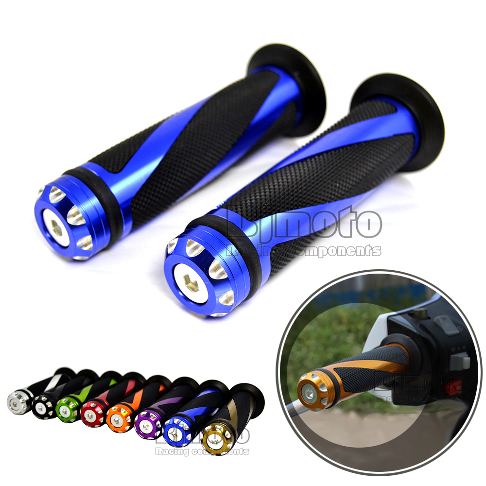 HB-001-BL High Quality Motorcycle 22MM Aluminum & Rubber 7/8'' CNC Handle Bar Hand Grips Blue & Black(China (Mainland))