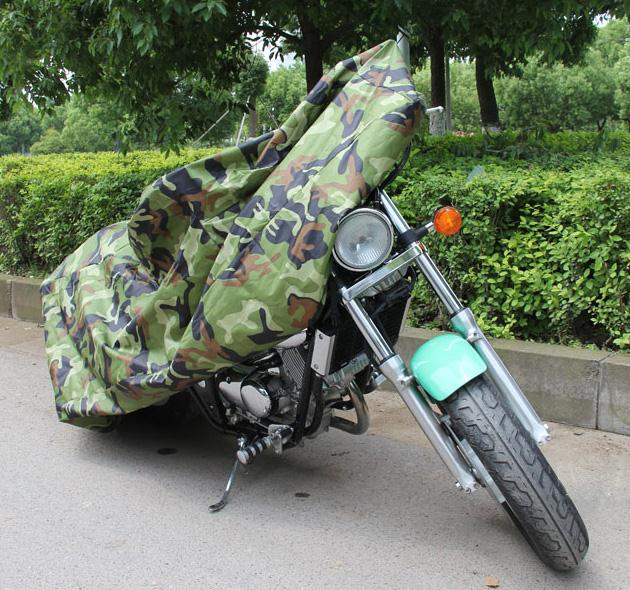 Jungle Wood Camouflage Lightweight 180T Polyester Taffeta Reflective PU Surface Motorcycle Cover Double Stitched For Moto Bikes(China (Mainland))