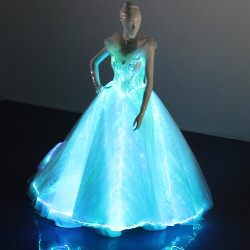 Newest fashion light up fiber optical fabric A line wedding Party dress adult women sexy Luminous dress with big gown lace up(China (Mainland))