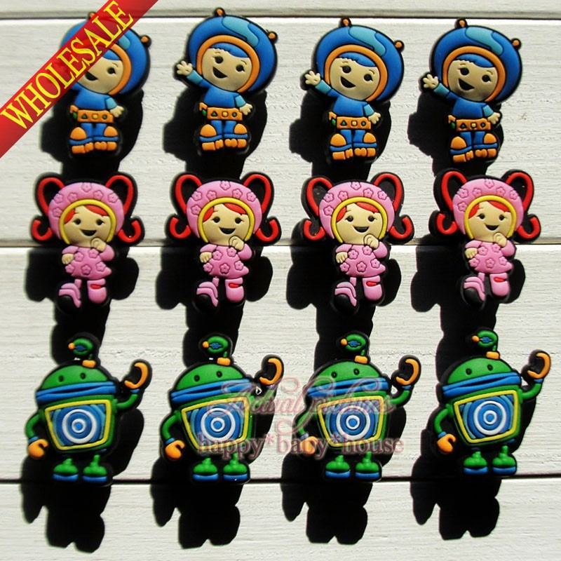 Free Shipping 12PCS/SET Team Umizoomi PVC Shoe Charms Shoe Accessories Soft Shoe Ornaments fit Bracelets Bands Wristbands Gifts(China (Mainland))