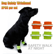 Pet dog Security Wristbands 2Pcs/Set Fluorescence Polyester Foot Strap For Pet Dog Products Large Dogs Safety Wristbands