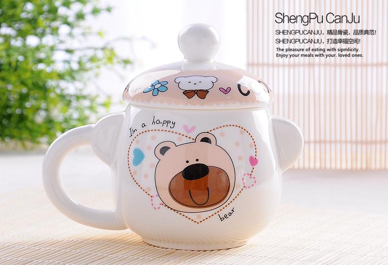 380ML, fine bone china thermos coffee cup set, bear designe, enamel porcelain ceramic tea mug, tazas cafe novelty thermocup(China (Mainland))