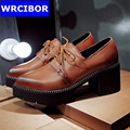 Big Size 34 43 Ladies dress shoes woman pointed toe thick heels platform pumps brown 2017