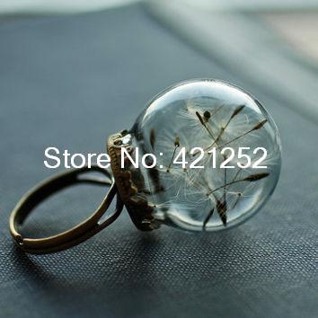 8pcs Real dandelion ring , dandelion seed jewelry , good luck ring , dandelion wish , mini jewelry(China (Mainland))