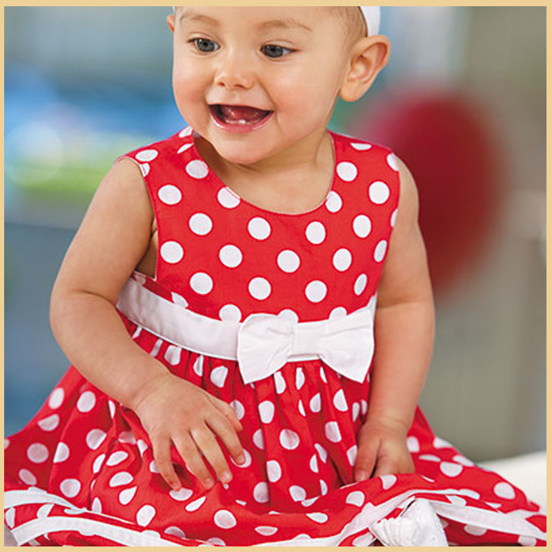 Retail Little Girl Dress for Summer 100% Cotton Dress With White Dot And White Bowknot(China (Mainland))