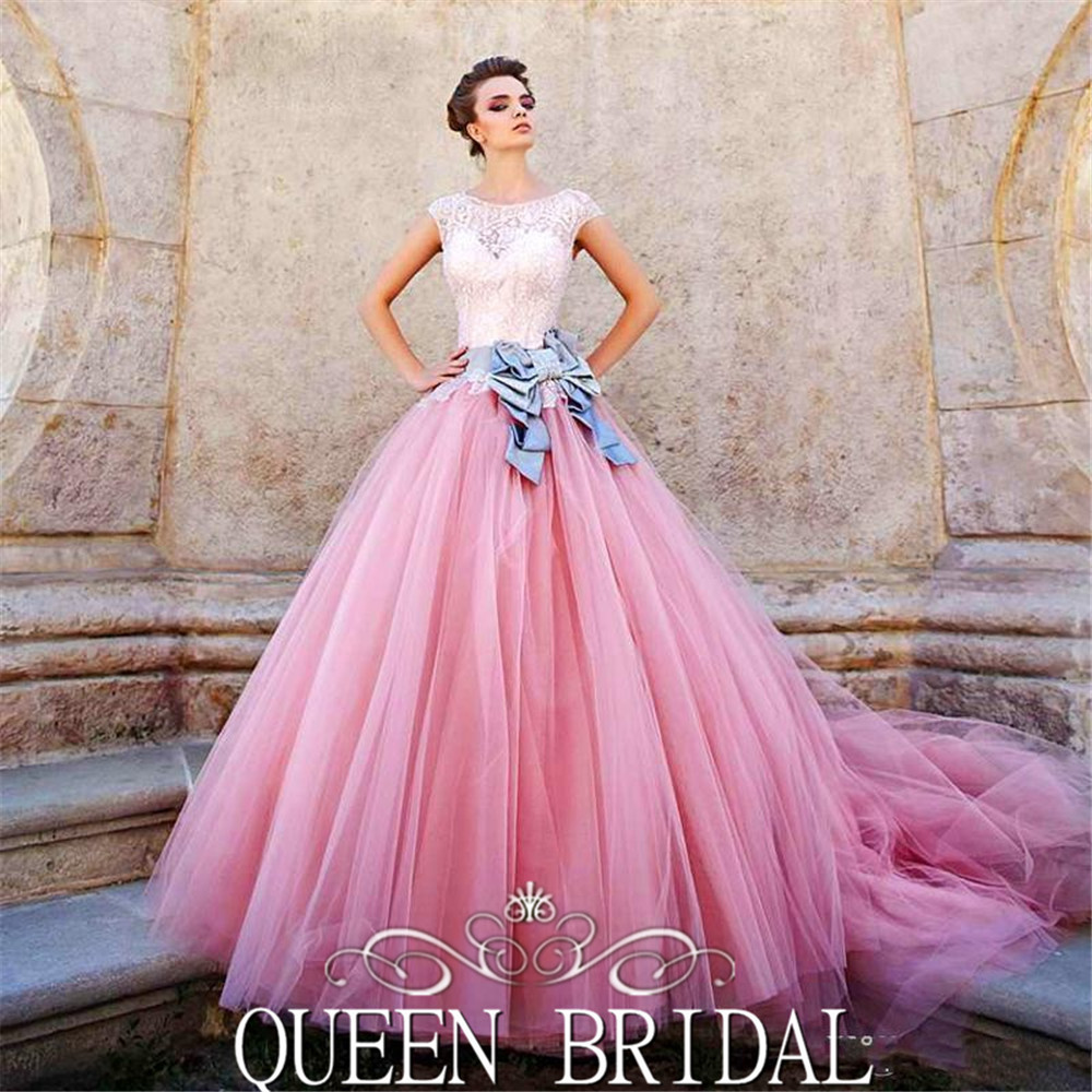 Ball Gown Wedding Dresses With Color : Tulle skirt lace up wedding dress pink color ball gown