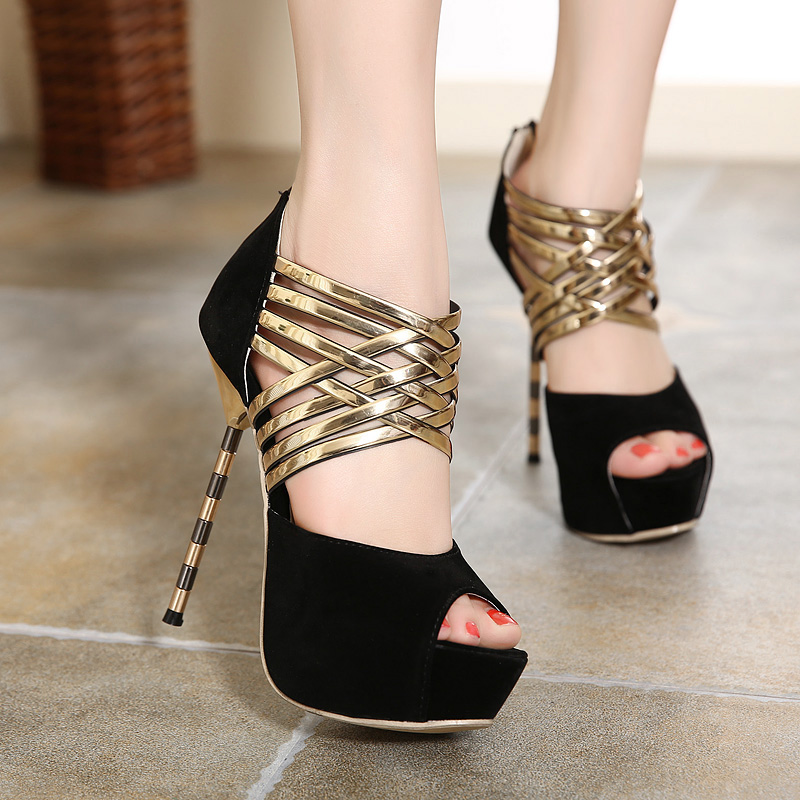 High-heeled shoes 2016 new 14cm sexy cross straps thin heels women pumps metal female sandals summer cutout open toe party shoes