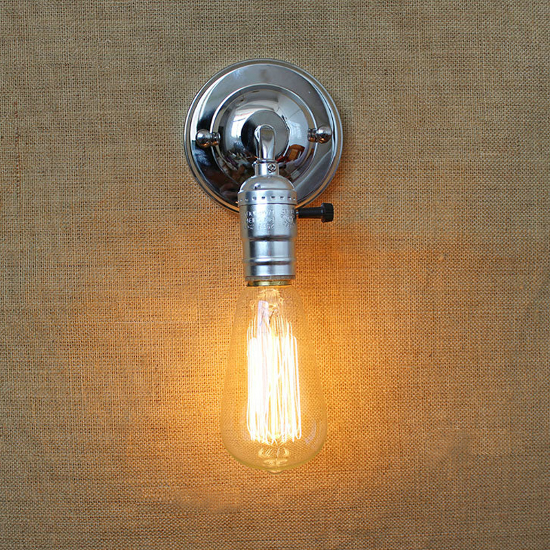 Free shpping loft vintage iron wall lamp with switch indoor .