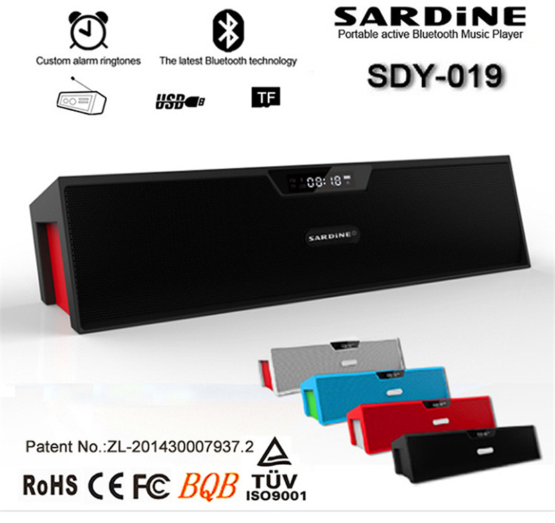 Sardine SDY-019 HIFI Portable Bluetooth Speaker 10w FM Radio wireless USb Amplifier Stereo Sound Box with mic Nizhi SDY019(China (Mainland))