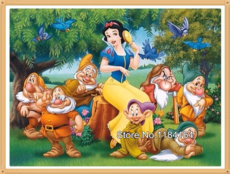 Free shipping diy cross stitch diamond painting embroidery Snow White and the seven dwarfs mosaic pictures of rhinestones BK-582(China (Mainland))