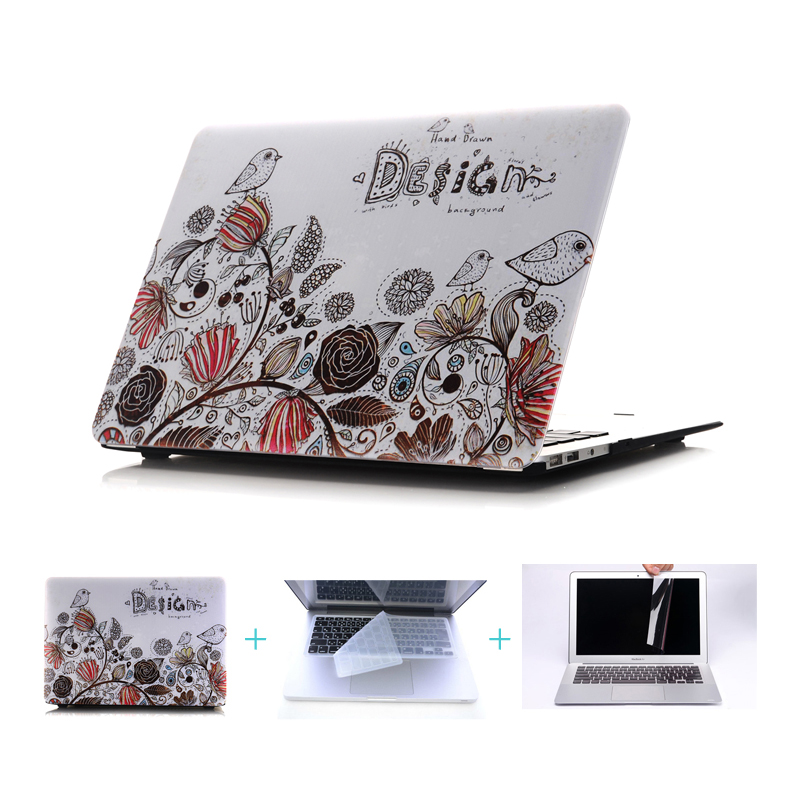 Ctrinews Flower &Bird Surface Hard Cover Case for Macbook Air Pro Retina 11 12 13 15 laptop shell case For macbook Air 13 inch(China (Mainland))