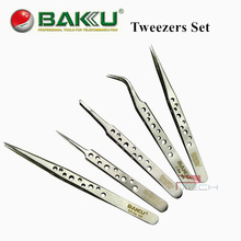 5pcs Tweezers of BAKU Hollow-Out Design, Ultra Rigidity Fine Point Anti-Static Stainless Steel Tweezers Set for iPhone Repair(China (Mainland))