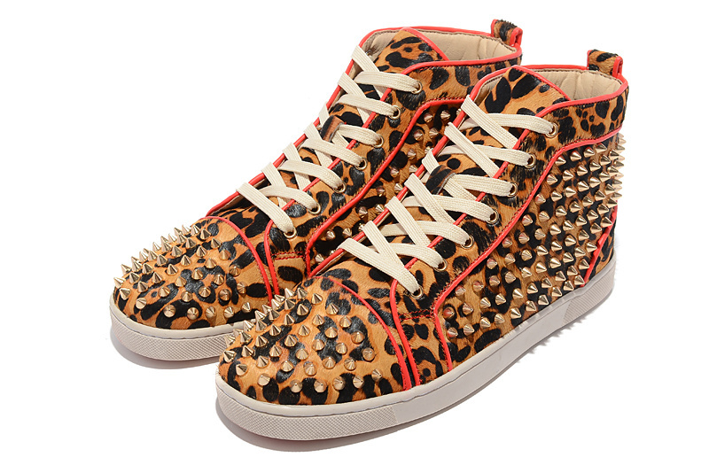 Red bottom men shoes fashion high top spikes flat sneakers Leopard ...
