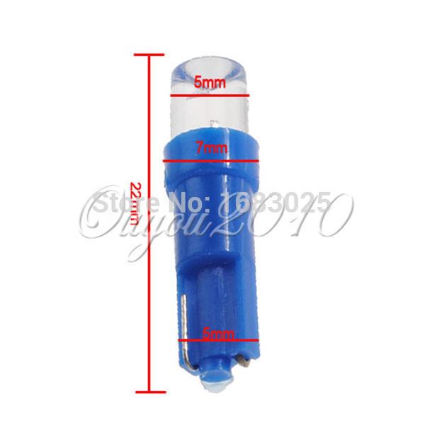 Big Promotion 10pcs lot T5 1 LED Car Auto Interior Dashboard Wedge Lights Lamp Bulb Blue