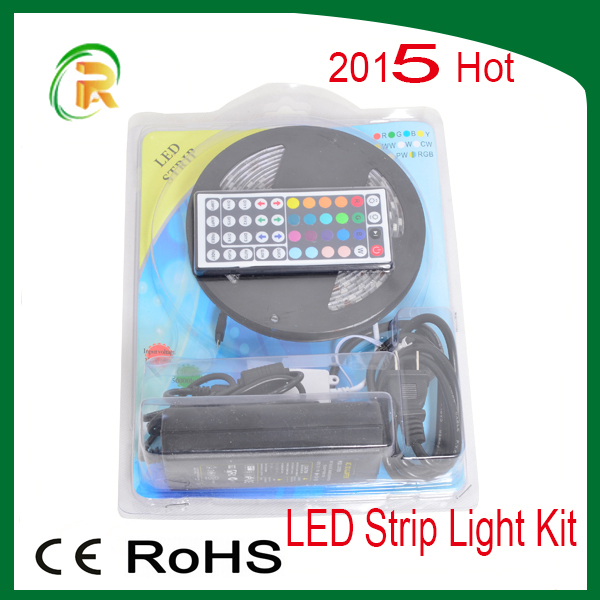 5050 RGB LED Strip Light Kit Complete 12V 60led/m IR Remote 44 keys Waterproof Tape Home Showcase Ads(China (Mainland))