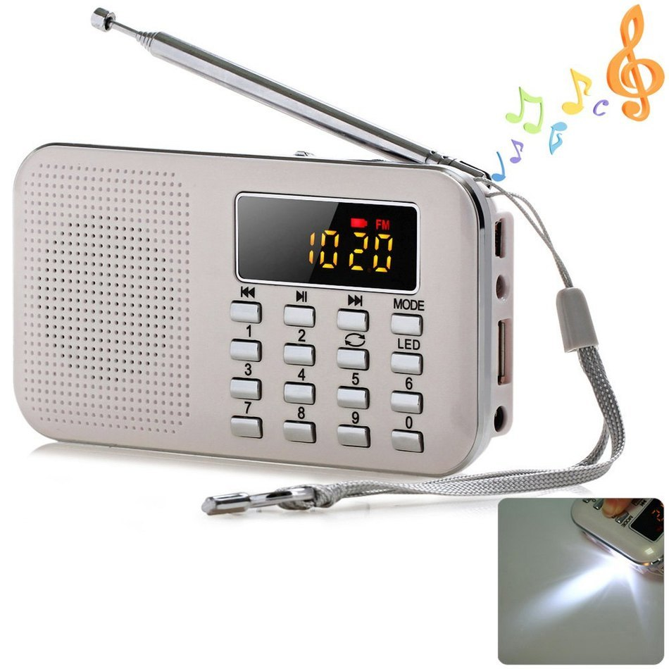 2017 New Portable Mini Stereo LCD Digital FM Radio Speaker USB TF Card Mp3 Music Player with LED Light and Rechargeable Battery(China (Mainland))