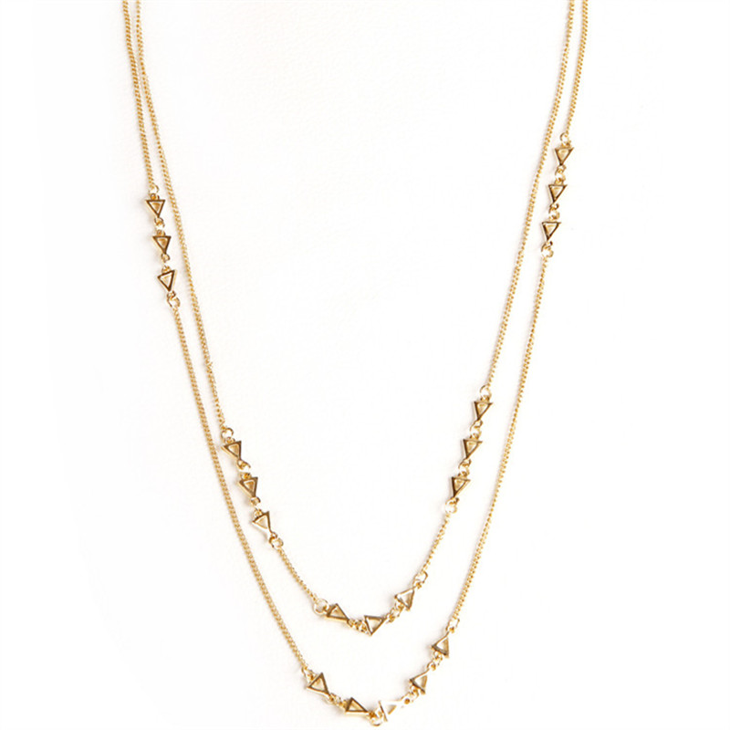New Fashion Gold Plated Double Chain Hollow Triangle Necklace Jewelry For Women X-759(China (Mainland))