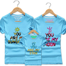 NEW Men Women Matching Outfits Family T-Shirt Kids Sun Moon Star Short Sleeve T Shirts Boys Father Son Tops Clothes Cotton Tees