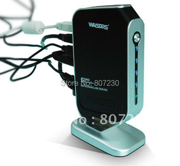 DHL FREE SHIPPING= 4 Port Printer HDD USB Webcam Share Server Hub Adapter Ethernet LAN Networking(China (Mainland))