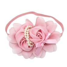Mode Baby Mädchen Stirnband 1 stücke Rose Perle Newborn Chiffon Blume Stirnband Baby Mädchen Säuglingsstirnband Haarschmuck 236(China (Mainland))