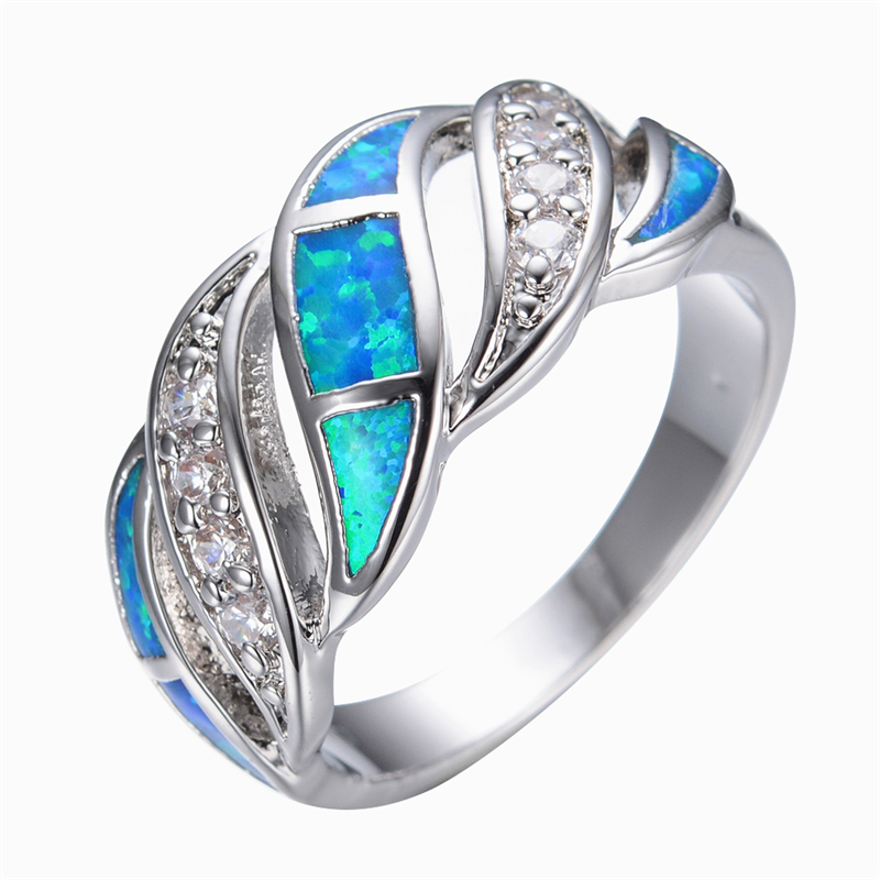 Blue Sapphire jewelry Crystal Opal Ring 14KT White Gold filled 925 sterling s