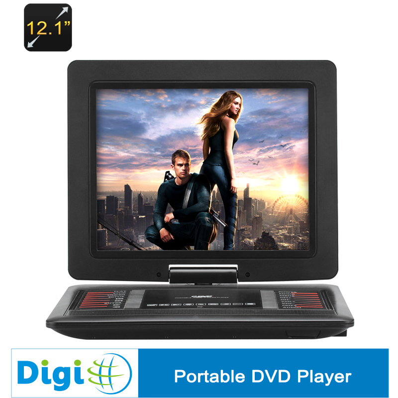 New 12.1 Inch Portable DVD Player 270 Degree Rotating Screen 1366x768 Resolution Copy Function Game Emulation 1200mAh Battery(China (Mainland))