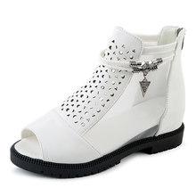 BONJOMARISA 2019 Thời Trang Bên Trong Gót Giày Lưới Không Khí Mùa Hè phụ nữ phụ nữ của Giày Giải Trí Peep Toe Mùa Hè Khởi Động Phụ N(China)