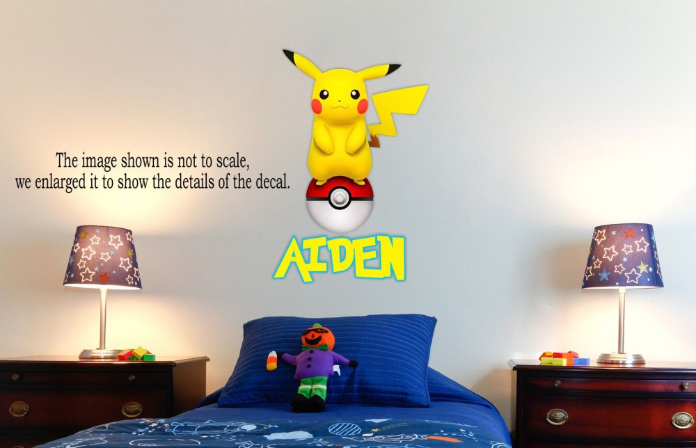 Personalized Pokemon Pikachu Wall Decal (Removable and Replaceable) 30inX20in(China (Mainland))