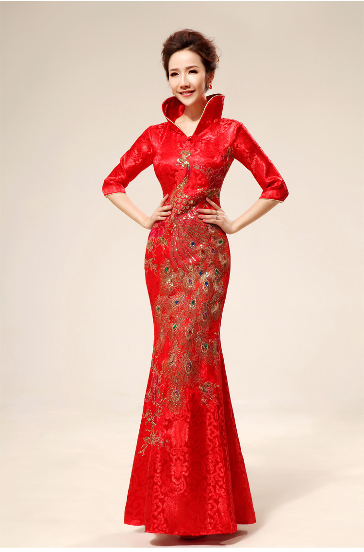 Free Shipping Stand Collar Formal Dress Chinese Knot Red Phoenix Embroidery Formal Wedding