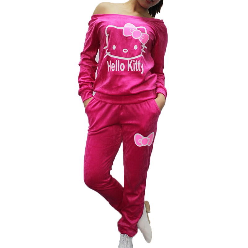 Women Fashion Brand Velour Tracksuit Female Hello Kitty Printed Velvet Sweatshirts+Pants Sport Suit Set Jogging Suits For Women(China (Mainland))