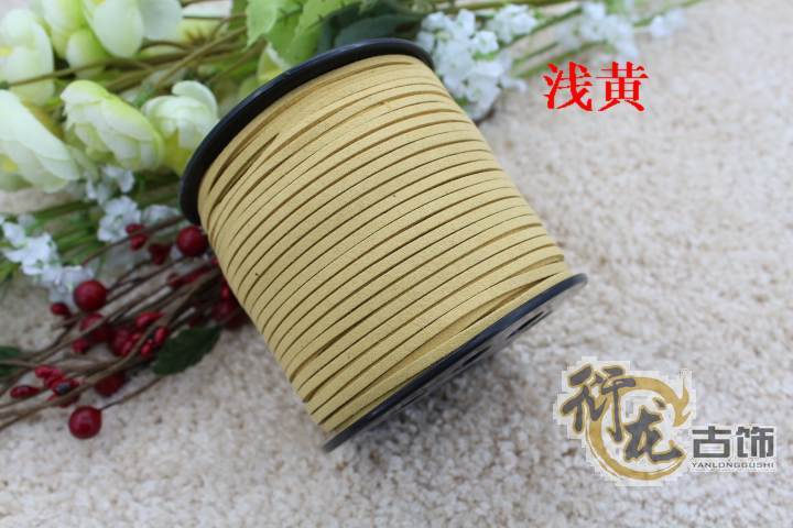100yards/ Roll 3mm x 2mm shallow yellow Flat Faux Suede Korean Velvet Leather Cord DIY Rope For Bracelet Necklace 019005004(China (Mainland))