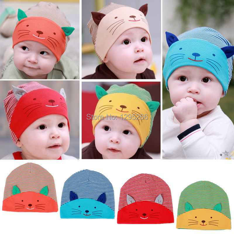 New Baby Cap Fashion Infant Hat Boys & Girls Skull Cat Hats Kids Hats Children Cotton Homies Animal Caps Free Shipping sLN6(China (Mainland))