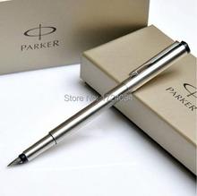 1 шт. / lot паркер ручка авторучка вектор ручки марка полный серебро ручка 0,5 мм винтажный нержавеющая сталь ручки 13.8 * 1.1 см