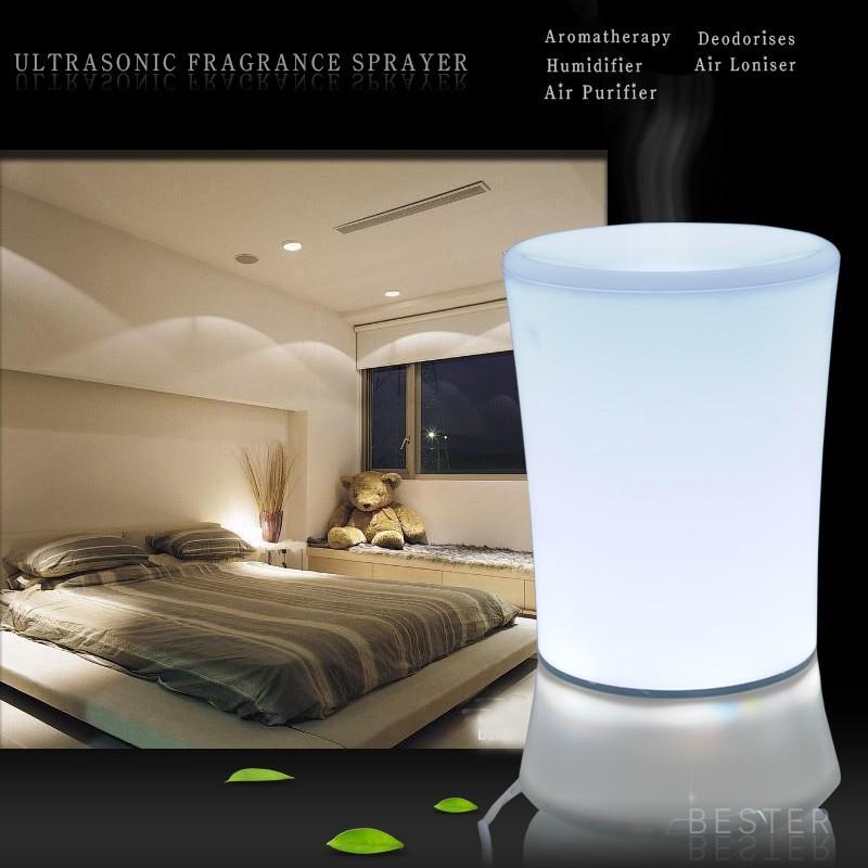 Гаджет  2014 NEW high quality Color-changing Ultrasonic White Electric 150ml Humidifier LED Lamp Aroma Diffuser freeshipping(1pc JSQ006) None Бытовая техника