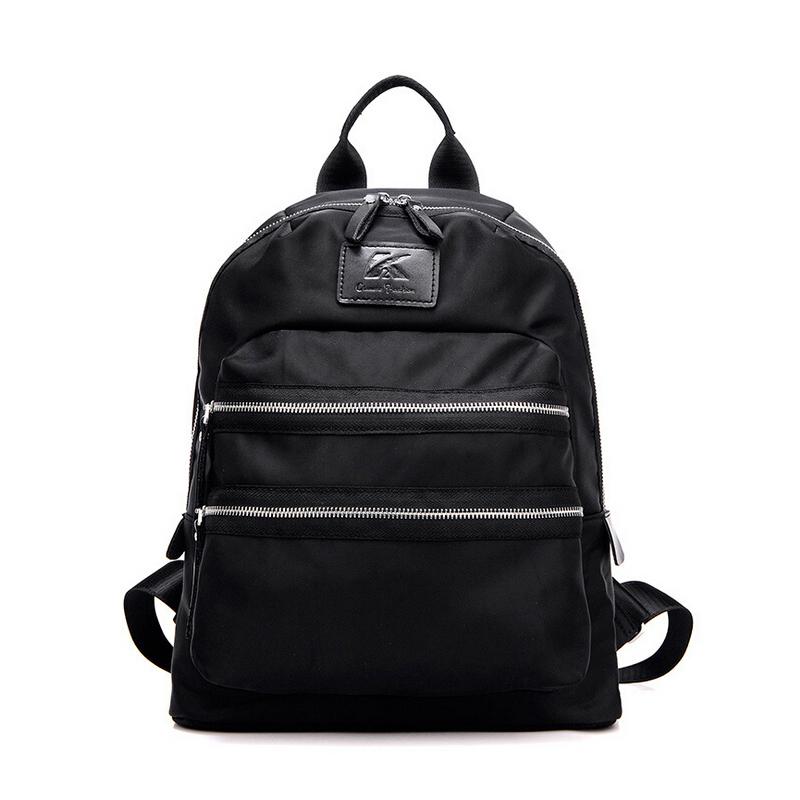 Brand Waterproof Nylon Women's Backpack Solid Double Zipper Ladies Backpack For Laptop Teenager School Bag mochila feminina 2016(China (Mainland))