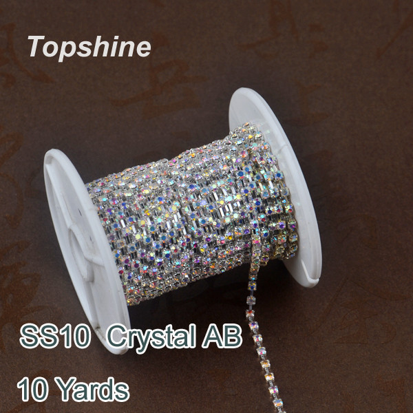 Cheapest 10 Yard SS10 Crystal AB Glass Rhinestones Cup Chain For Garment(China (Mainland))