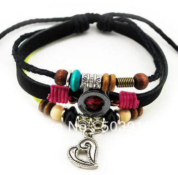 FREE~Wholesale 36pcs ( 3 IN 1 )Vintage Handmade Heart  Surfer Hemp Leather health Bracelet Wristband Men Women Present Jewelry