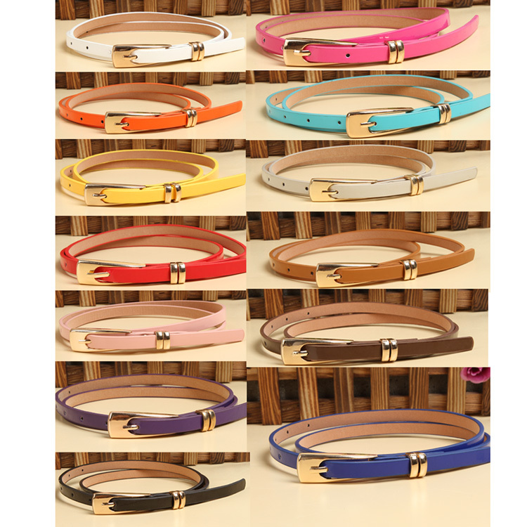Hot Sale Fashion Lady Multicolor Synthetic Leather Waistband Thin Skinny Belt Buckle Strap Drop Shipping WF-Belt-0049(China (Mainland))