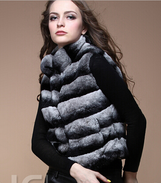 Luxury New Natural Rex Rabbit Fur Vest Woman Whole Genuine Chinchilla Fur Coat For Women's Real Furs Vests Fur Jacket Waistcoat(China (Mainland))