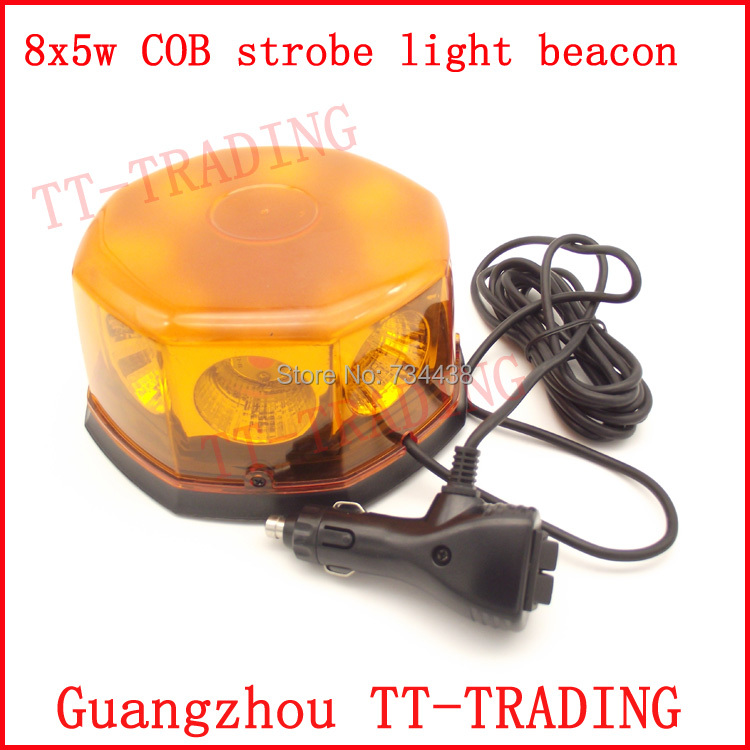 40W Police strobe lights super bright COB vehicle flash lamp car Emergency led strobe beacon with magnet RED BLUE AMBER WHITE