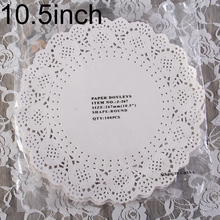 """Creative Craft 10.5"""" Inch Round White Paper Lace Doilies Cake Placemat Party Wedding Gift Decoration 100pcs/pack(China (Mainland))"""