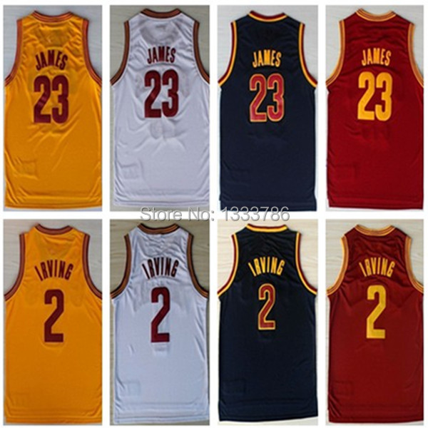 #23 Lebron James #2 Kyrie Irving Brand New Jerseys Yellow/Red/Dark Blue/White New Material Rev 30 Embroidery Basketball Jersey(China (Mainland))