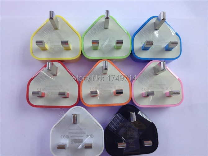 1000pcs/lot,AC Power USB Wall Charger For iPhone 4/s for itouch ,uk adpater plug, for mobilephone,10 colours(China (Mainland))