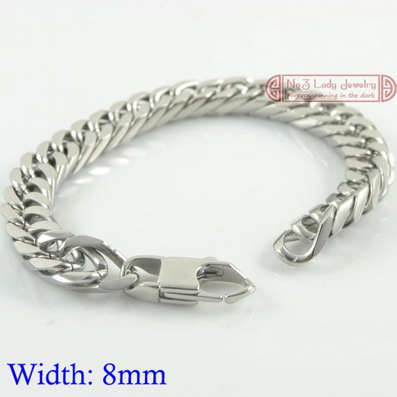 8mm width, Cool Clasp Mens Stainless Steel Chains Bracelets Link, Fashion Jewelry, new arrivals, Stock ,WB004 - No.3 Lady Jewelry store